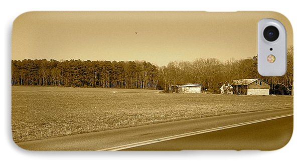 Old Barn And Farm Field In Sepia IPhone Case by Amazing Photographs AKA Christian Wilson