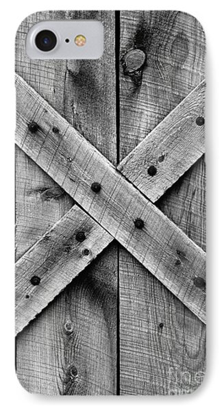 IPhone Case featuring the photograph Old Barn Door In Black And White by Lincoln Rogers