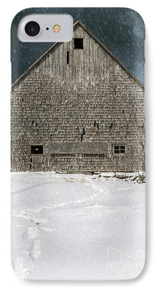 Old Barn In A Snow Storm Phone Case by Edward Fielding