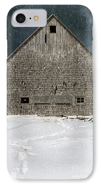 Old Barn In A Snow Storm IPhone Case