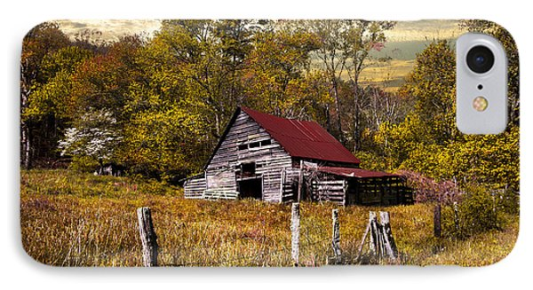 Old Barn In Autumn IPhone Case by Debra and Dave Vanderlaan