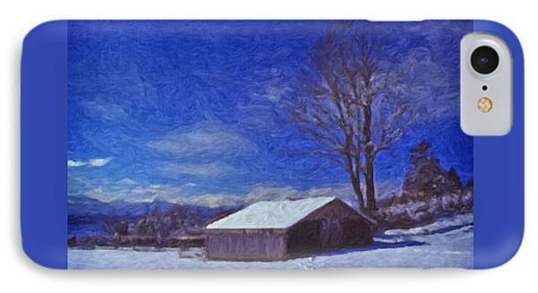 IPhone Case featuring the digital art Old Barn In Winter by Richard Farrington