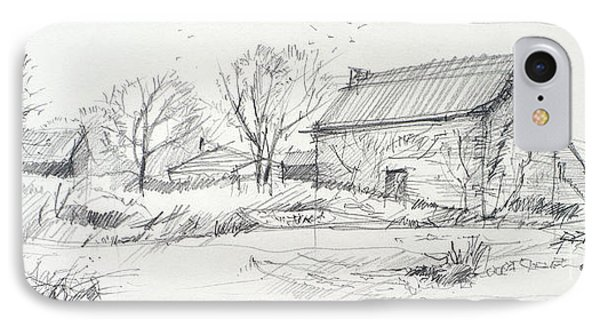 Old Barn Sketch Phone Case by Peut Etre