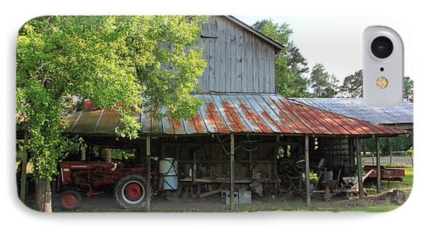 Old Barn With Red Tractor IPhone Case by Suzanne Gaff