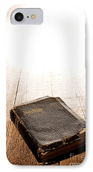 Old Bible In Divine Light Phone Case by Olivier Le Queinec