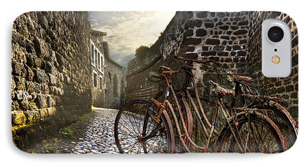 Old Bicycles On A Sunday Morning Phone Case by Debra and Dave Vanderlaan