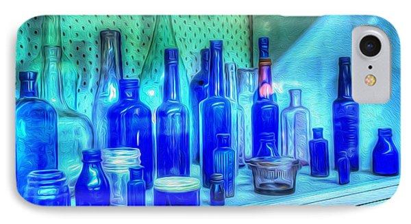 Old Blue Bottles Phone Case by Kaye Menner