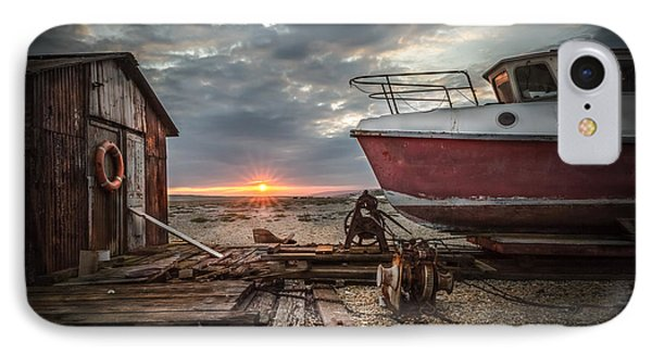Old Boat At Sunset Phone Case by Ivor Toms