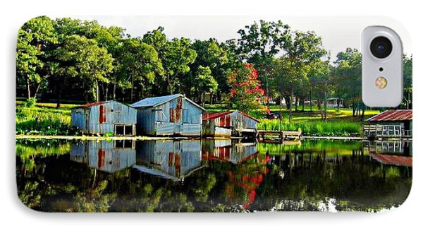 Old Boat House Reflection IPhone Case by Carrie OBrien Sibley