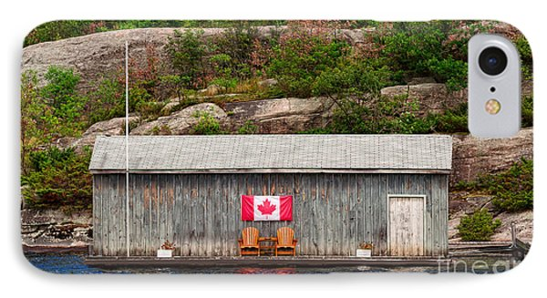 Old Boathouse With Two Muskoka Chairs IPhone Case