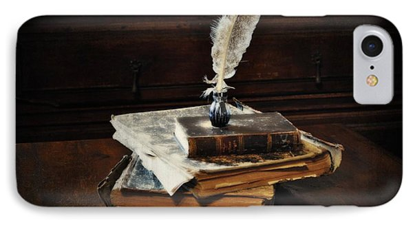 Old Books And A Quill Phone Case by Mary Machare