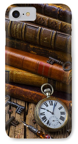 Old Books And Pocketwatch Phone Case by Garry Gay