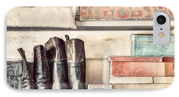 Old Boots And Boxes - On The Shelves Of A 19th Century General Store IPhone Case by Gary Heller