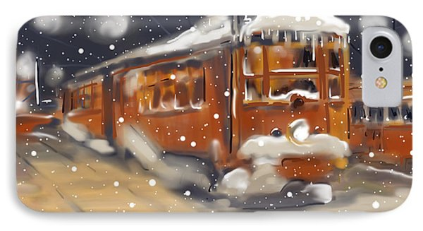 Old Boston Trolley In The Snow IPhone Case by Jean Pacheco Ravinski