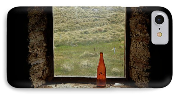 Old Bottle In Window Of Potters Huts IPhone Case by David Wall