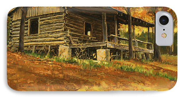 Old Cabin In Autumn IPhone Case by Don  Langeneckert