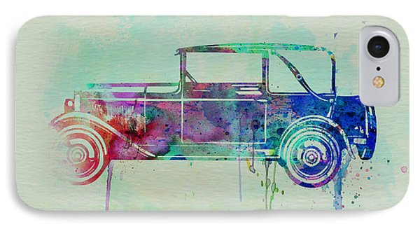 Old Car Watercolor IPhone Case by Naxart Studio