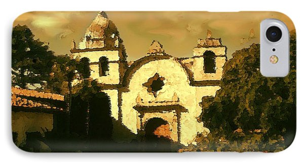 Old Carmel Mission - Watercolor Drawing IPhone Case by Art America Gallery Peter Potter