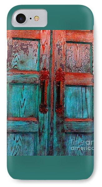 IPhone Case featuring the photograph Old Church Door Handles 1 by Becky Lupe