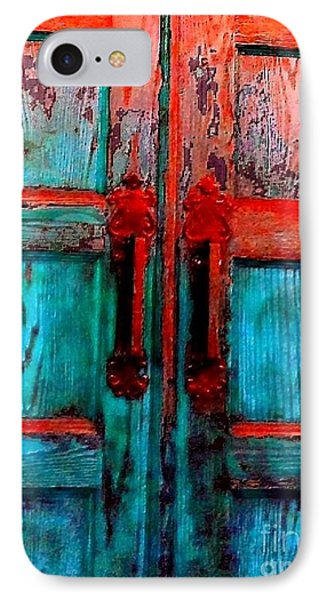 IPhone Case featuring the photograph Old Church Door Handles 2 by Becky Lupe