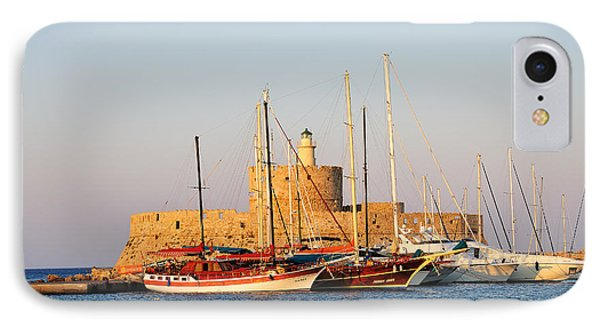 Agios Nikolaos Lighthouse At The Old City Of Rhodes IPhone Case by George Atsametakis