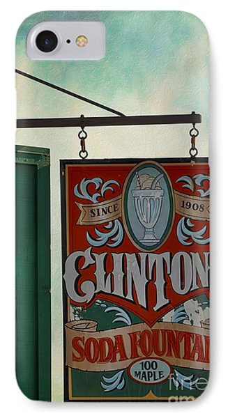 Old Clinton's Soda Fountain Sign IPhone Case
