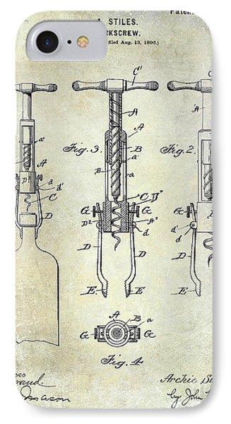 Corkscrew Patent IPhone Case by Jon Neidert