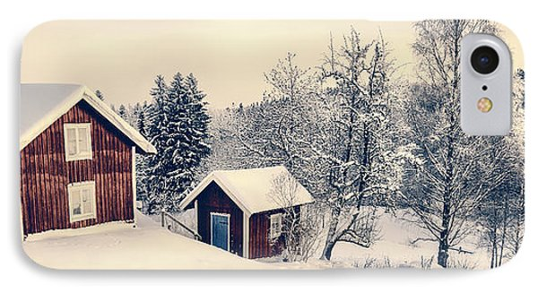 IPhone Case featuring the photograph Old Cottages In A Snowy Rural Landscape by Christian Lagereek
