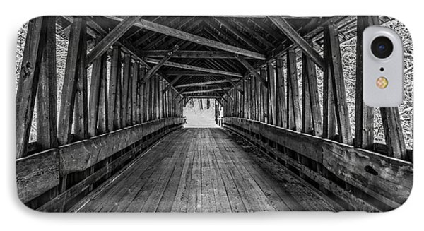 Old Covered Bridge Winter Interior IPhone Case by Edward Fielding