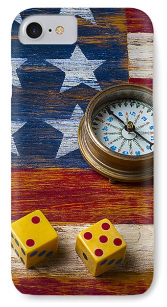 Old Dice And Compass Phone Case by Garry Gay