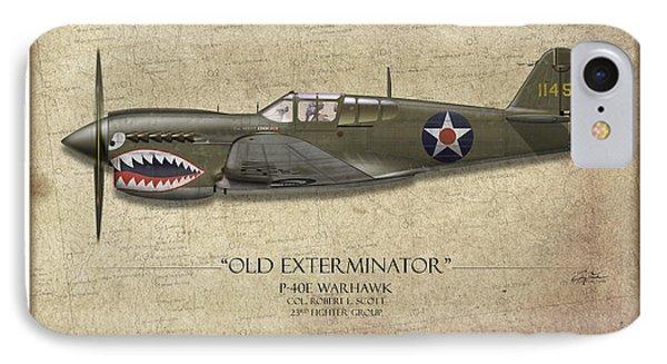 Old Exterminator P-40 Warhawk - Map Background IPhone Case by Craig Tinder