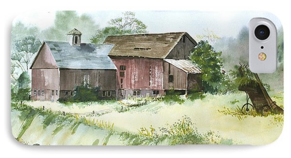 IPhone Case featuring the painting Old Farm Buildings by Susan Crossman Buscho