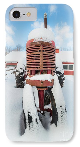 Old Farm Tractor In The Snow IPhone Case