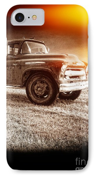 Old Farm Truck With Explosion At Night Phone Case by Edward Fielding