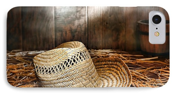 Old Farmer Hat And Rope IPhone Case by American West Decor By Olivier Le Queinec