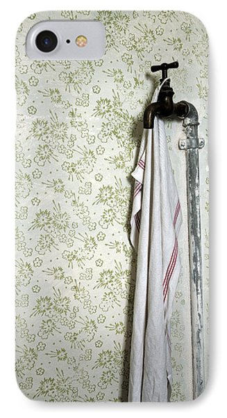 Old Fashioned Faucet And Flowery Wallpaper Phone Case by Matthias Hauser