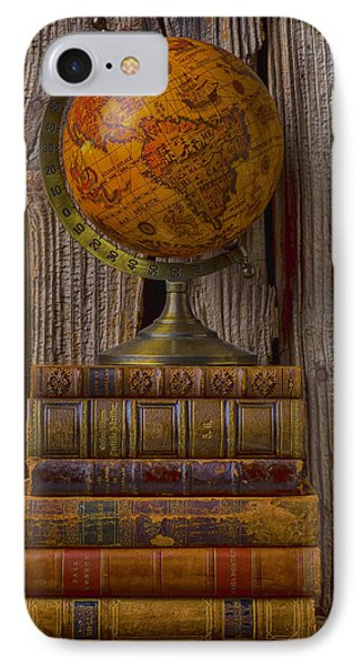 Old Globe On Old Books Phone Case by Garry Gay