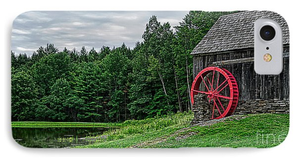 Old Grist Mill Vermont Red Water Wheel Phone Case by Edward Fielding