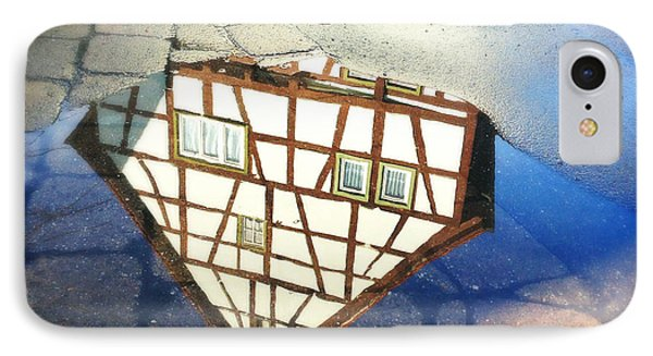 Old Half-timber House Upside Down - Water Reflection IPhone Case by Matthias Hauser