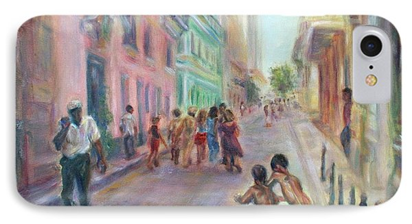 Old Havana Street Life - Sale - Large Scenic Cityscape Painting IPhone Case