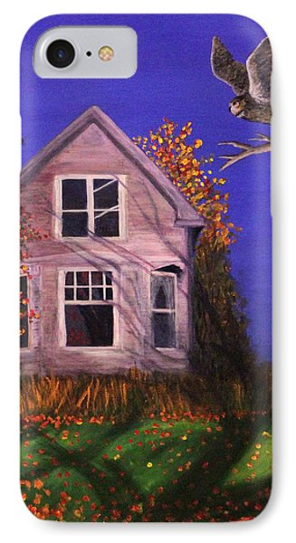 IPhone Case featuring the painting Old House And Owl by Janet Greer Sammons