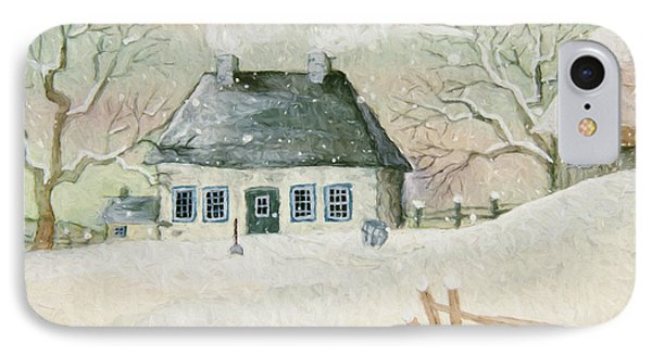 Old House In The Snow/ Painted Digitally IPhone Case by Sandra Cunningham