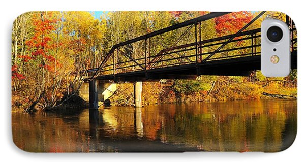 IPhone Case featuring the photograph Historic Harvey Bridge Over Manistee River In Wexford County Michigan by Terri Gostola