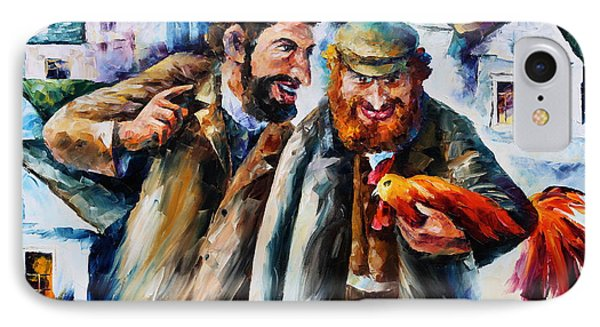 Old Jews And A Rooster  IPhone Case by Leonid Afremov