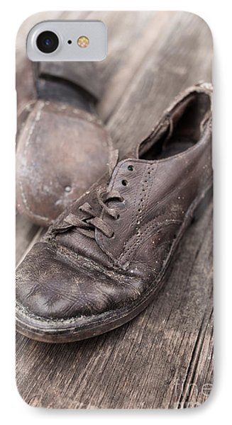 Old Leather Shoes On Wooden Floor Phone Case by Edward Fielding