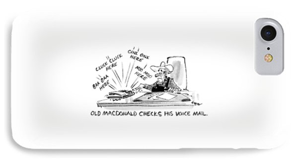Old Macdonald Checks His Voice Mail: IPhone Case by Lee Lorenz