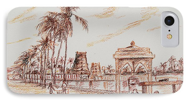 IPhone Case featuring the painting Old Madras-mylapore Tank by Ragunath Venkatraman