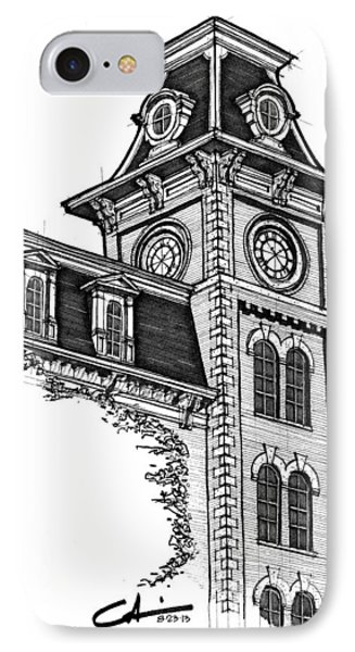 IPhone Case featuring the drawing Old Main by Calvin Durham