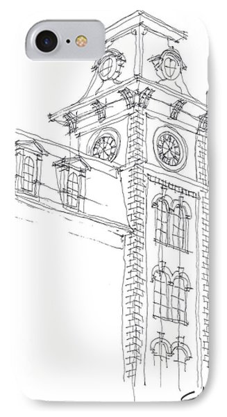 IPhone Case featuring the drawing Old Main Study by Calvin Durham