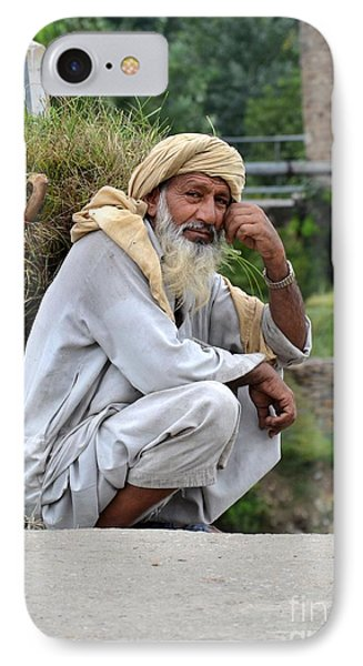 IPhone Case featuring the photograph Old Man Carrying Fodder Swat Valley Kpk Pakistan by Imran Ahmed